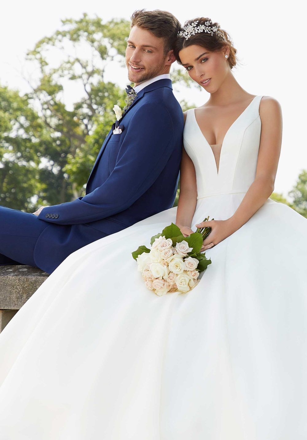 Blu by Morilee wedding gown dress style 5814 couple