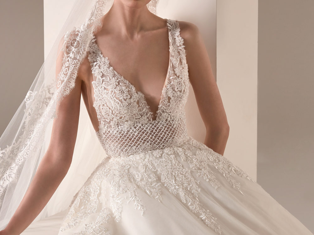 Pronovias Adwoa Wedding Gown Dress 2020 Privee Collection front detail