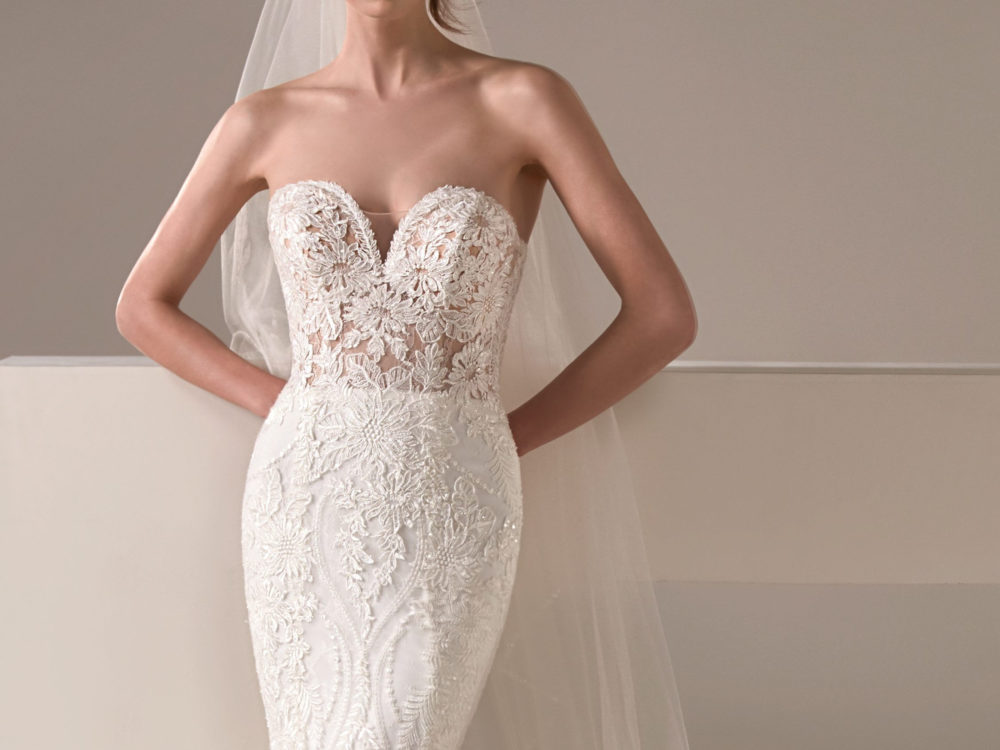 Alison Wedding Dress Gown from Pronovias Privee Collection front detail