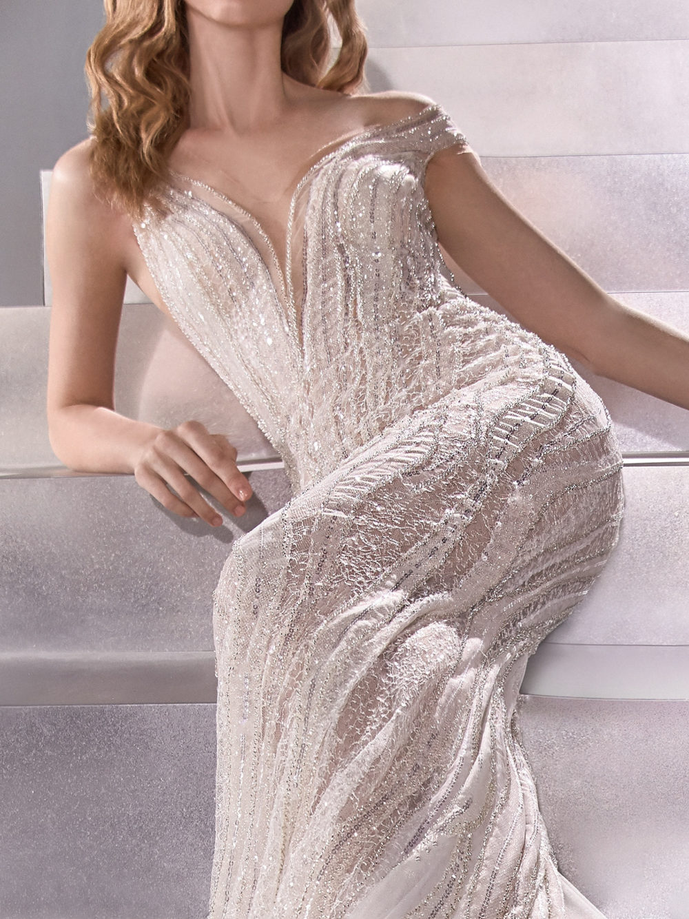 Pronovias Odyssey Wedding Gown Dress 2020 Atelier Collection FRont detail