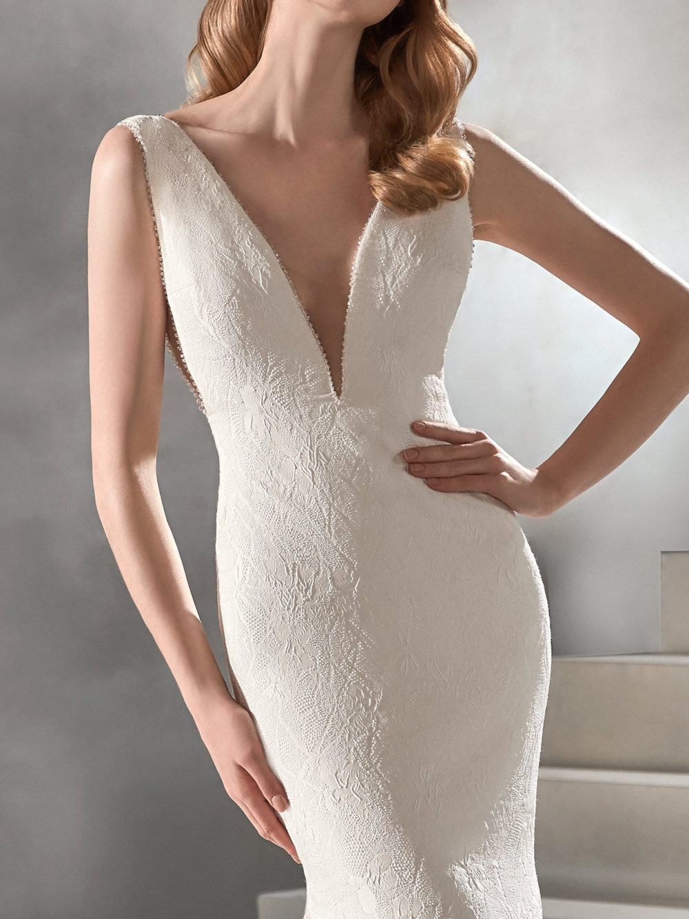 Pronovias Racimo Wedding Gown Dress 2020 Atelier Collection front detail