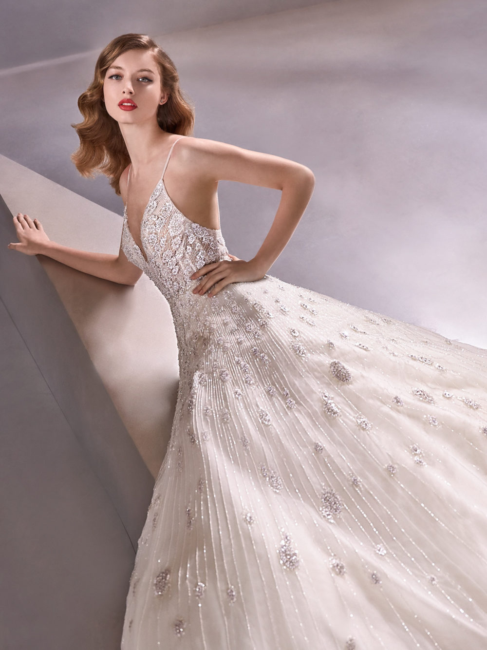 Pronovias Shining Star Wedding Gown Dress 2020 Atelier Collection left side